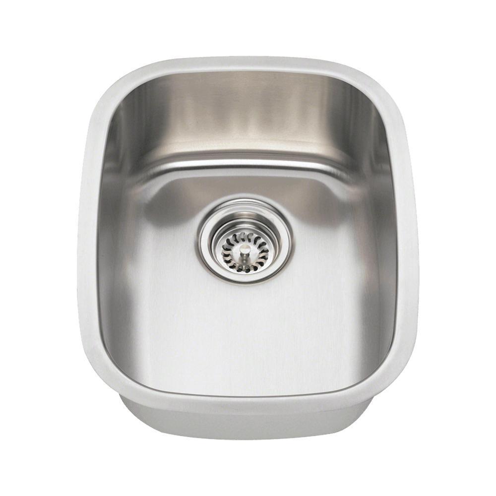 Undermount Stainless Steel 15 in. Single Bowl Bar Sink, B...