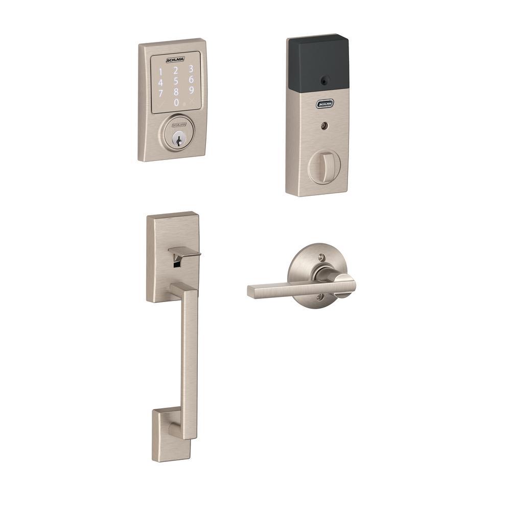 Century Satin Nickel Sense Smart Door Lock with Latitude Lever Door Handleset