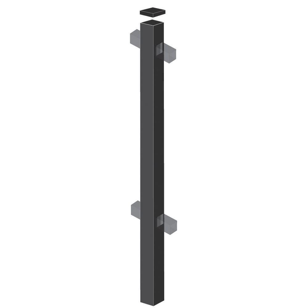 Barrette 2 in. x 2 in. x 70 in. Aluminum Black Fence Line Post Black