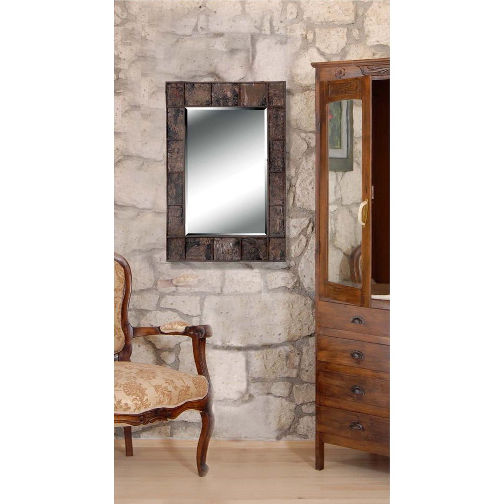 Manor Brook Dexter Bark 38 in. x 28 in. Natural Bark Rectangle Framed Wall Mirror