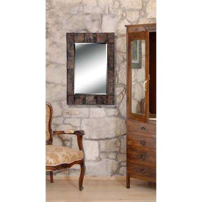 Dexter Bark 38 in. x 28 in. Natural Bark Rectangle Framed Wall Mirror