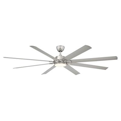 Glenmeadow 84 in. Integrated LED Brushed Nickel Ceiling Fan with Light and Remote Control