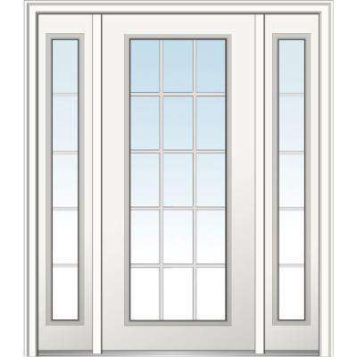64 in. x 80 in. Classic Left-Hand Inswing 15-Lite Clear Primed Fiberglass Smooth Prehung Front Door with Sidelites