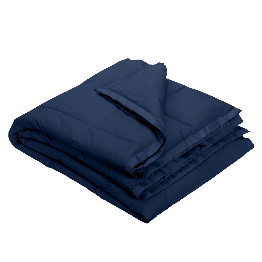LaCrosse Down Navy Blue Cotton Throw Blanket