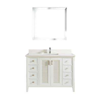 Aurora 48 in. W x 22 in. D Vanity in White with Quartz Vanity Top in White with White Basin and Mirror