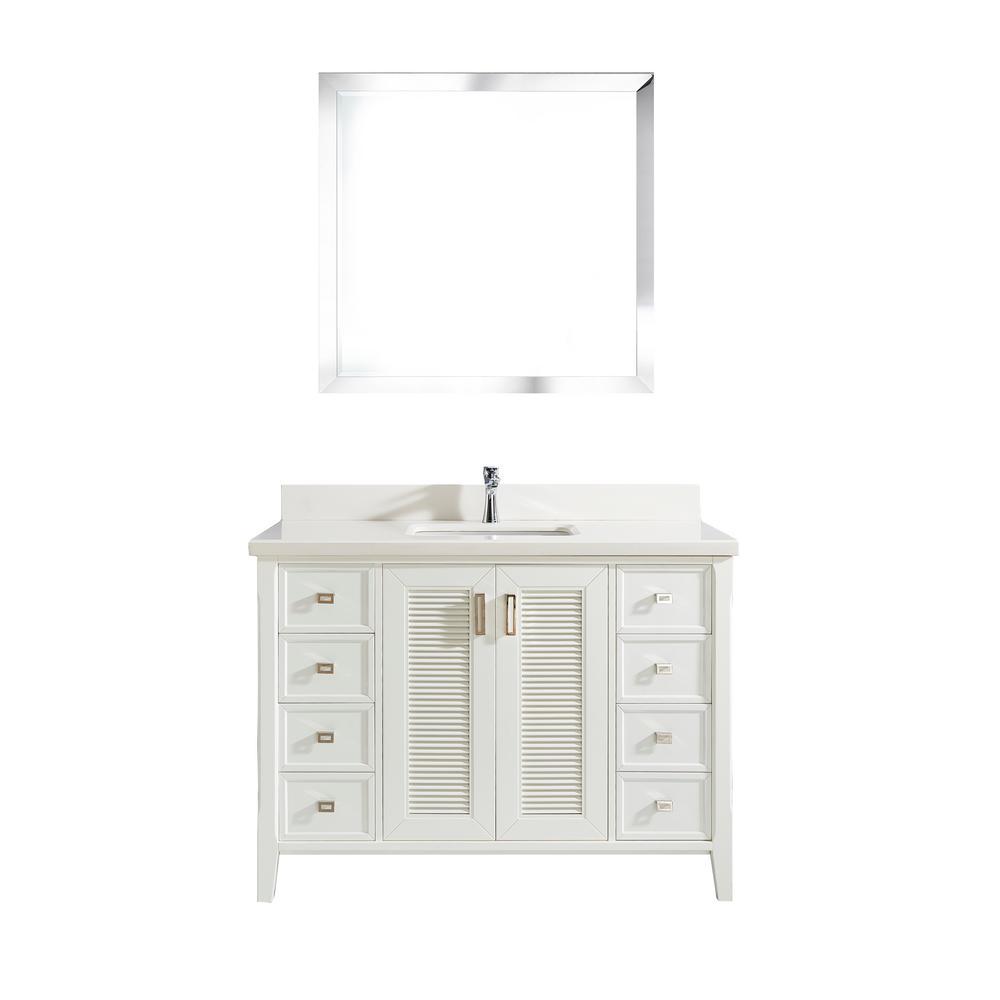 Studio Bathe Aurora 48 in. W x 22 in. D Vanity in White w...