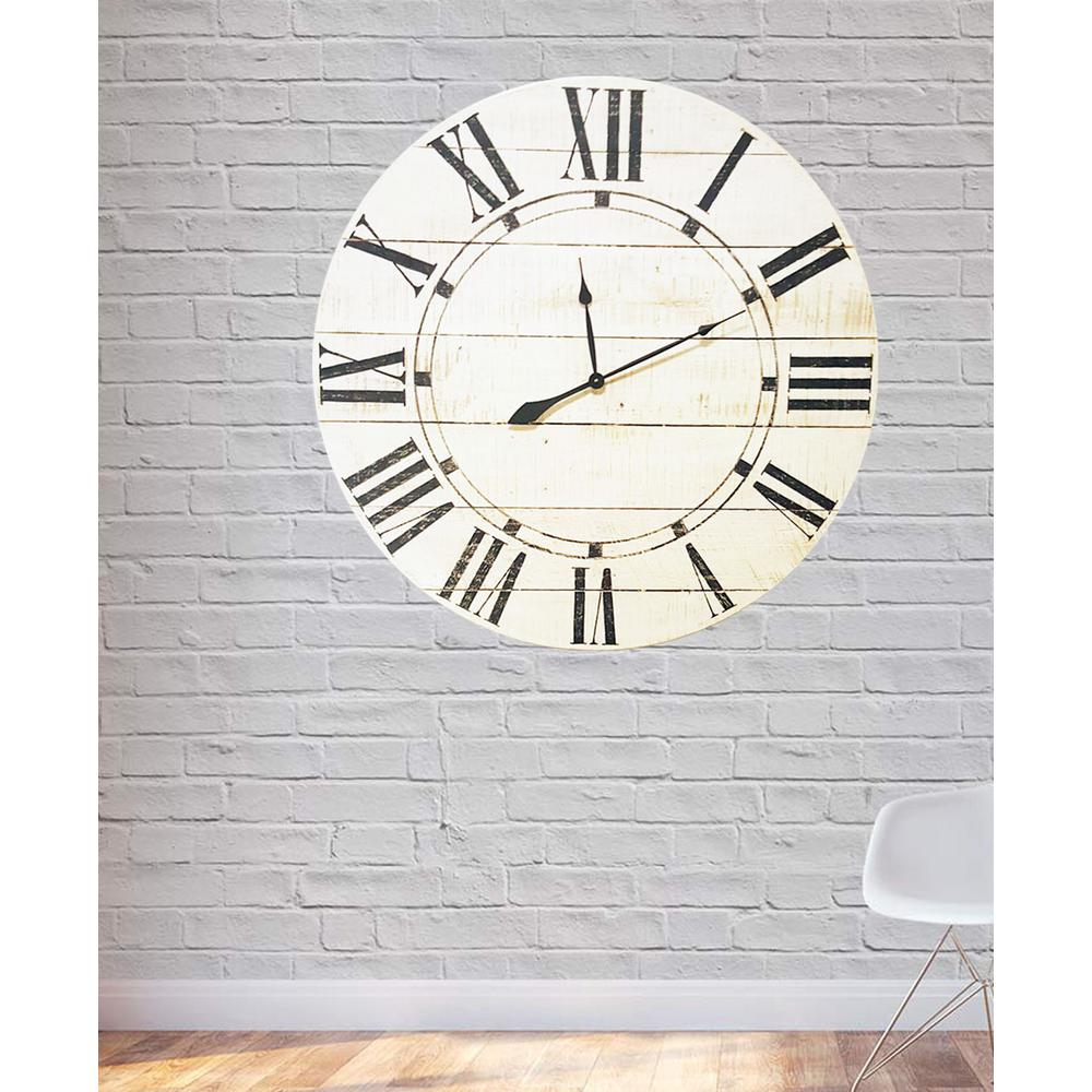 30 in. x 30 in. Vintage White Oversized Farmhouse Wall Clock