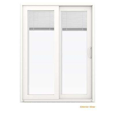 60 in. x 80 in. V-4500 White Vinyl Right-Hand Full Lite Sliding Patio Door w/Blinds