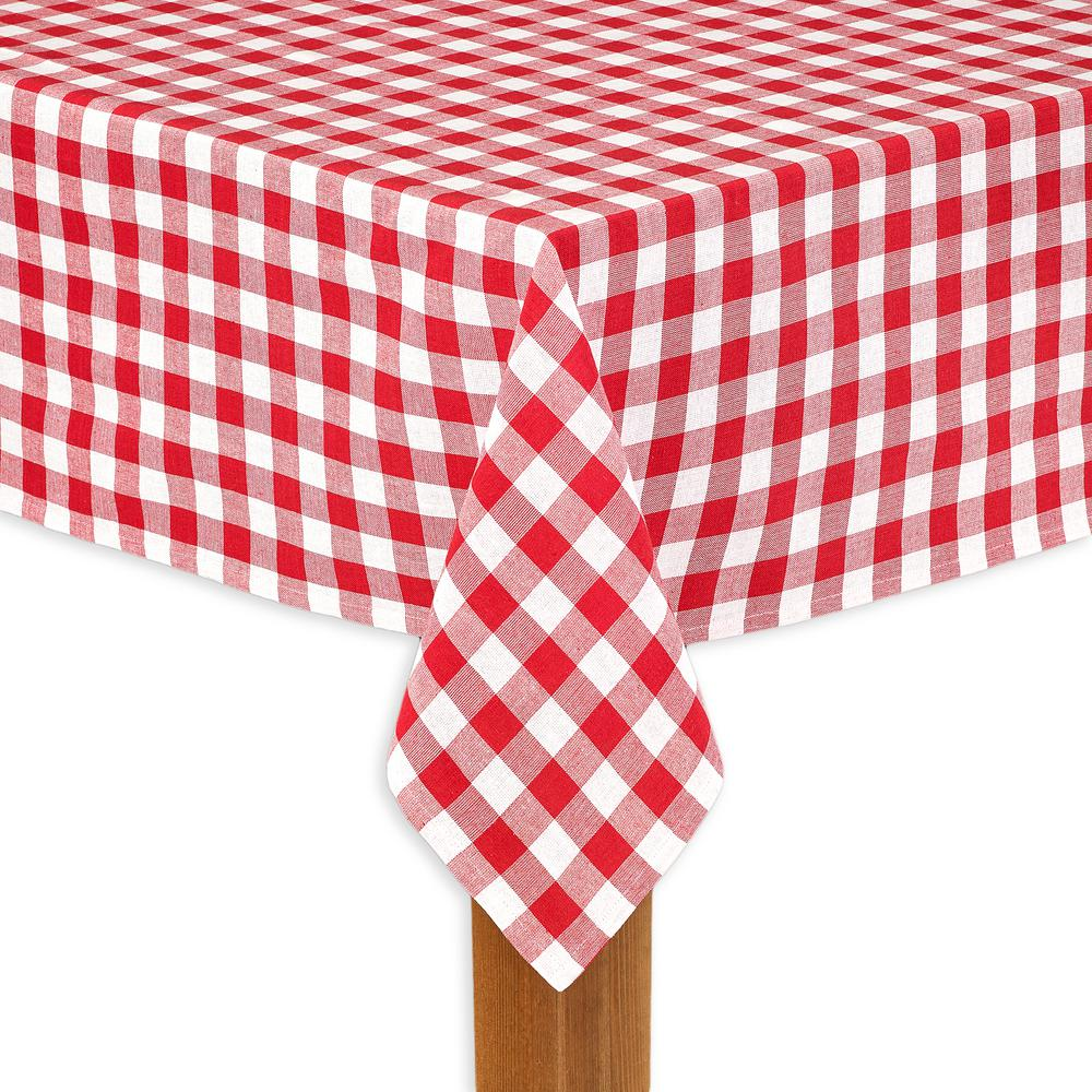 Buffalo Check 70 in. Round Red 100% Cotton Table Cloth for