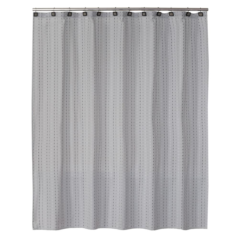 Exceptional Saturday Knight Hopscotch 72 In. Gray Shower Curtain