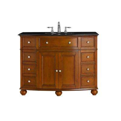 Hampton Harbor 45 in. W x 22 in. D Vanity in Sequoia with Granite Vanity Top in Black with White Basin