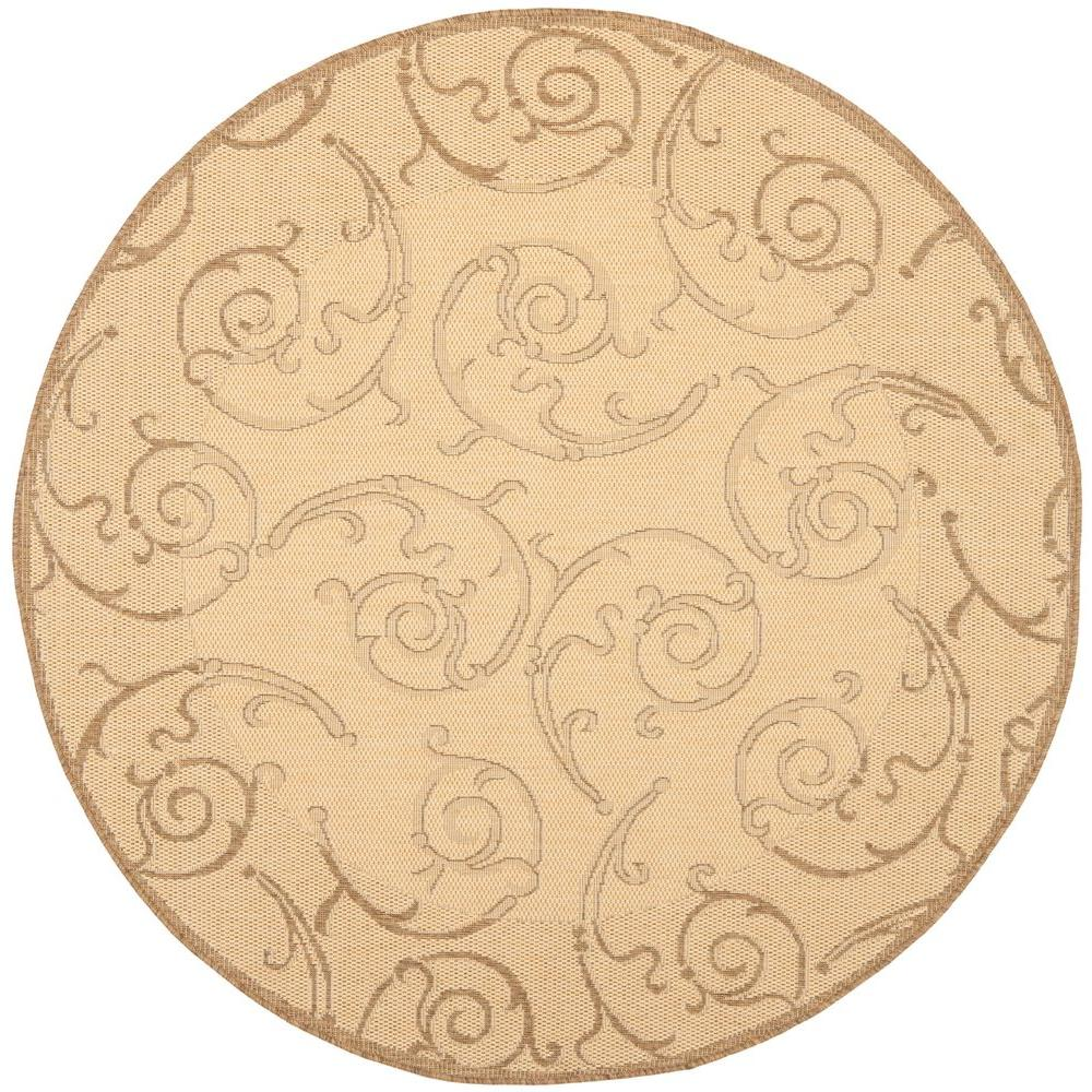 safavieh courtyard natural brown 7 ft x 7 ft indoor outdoor round area rug cy2665 3001 7r. Black Bedroom Furniture Sets. Home Design Ideas
