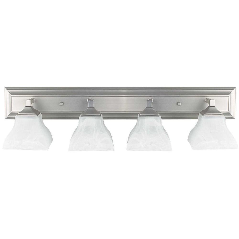 4-Light Bright Satin Nickel Vanity Light