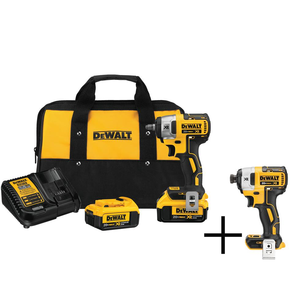 DEWALT 20-Volt MAX XR Lithium-Ion Cordless 3/8 in. Brushless Impact Wrench Kit w/ Free Impact Driver