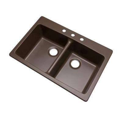Waterbrook Dual Mount Composite Granite 33 in. 3-Hole Double Bowl Kitchen Sink in Mocha