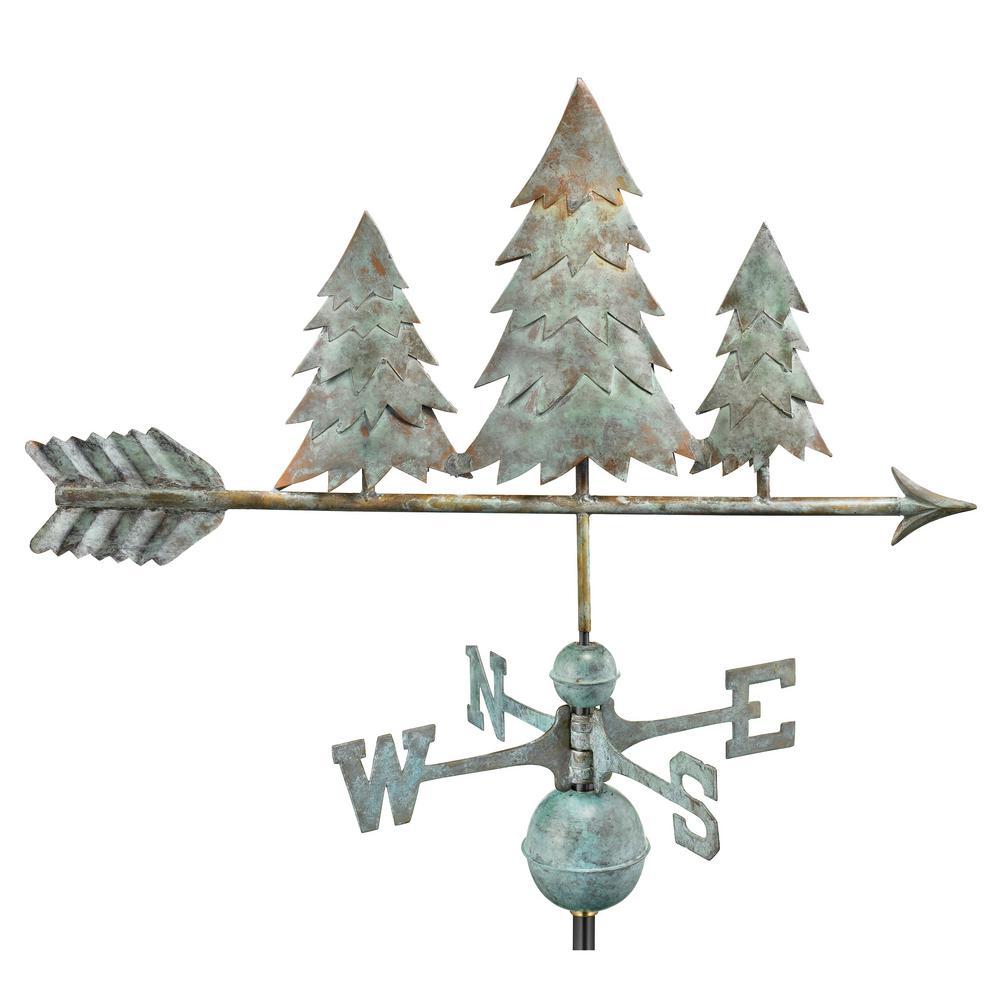 Pine Trees Weathervane - Blue Verde Copper