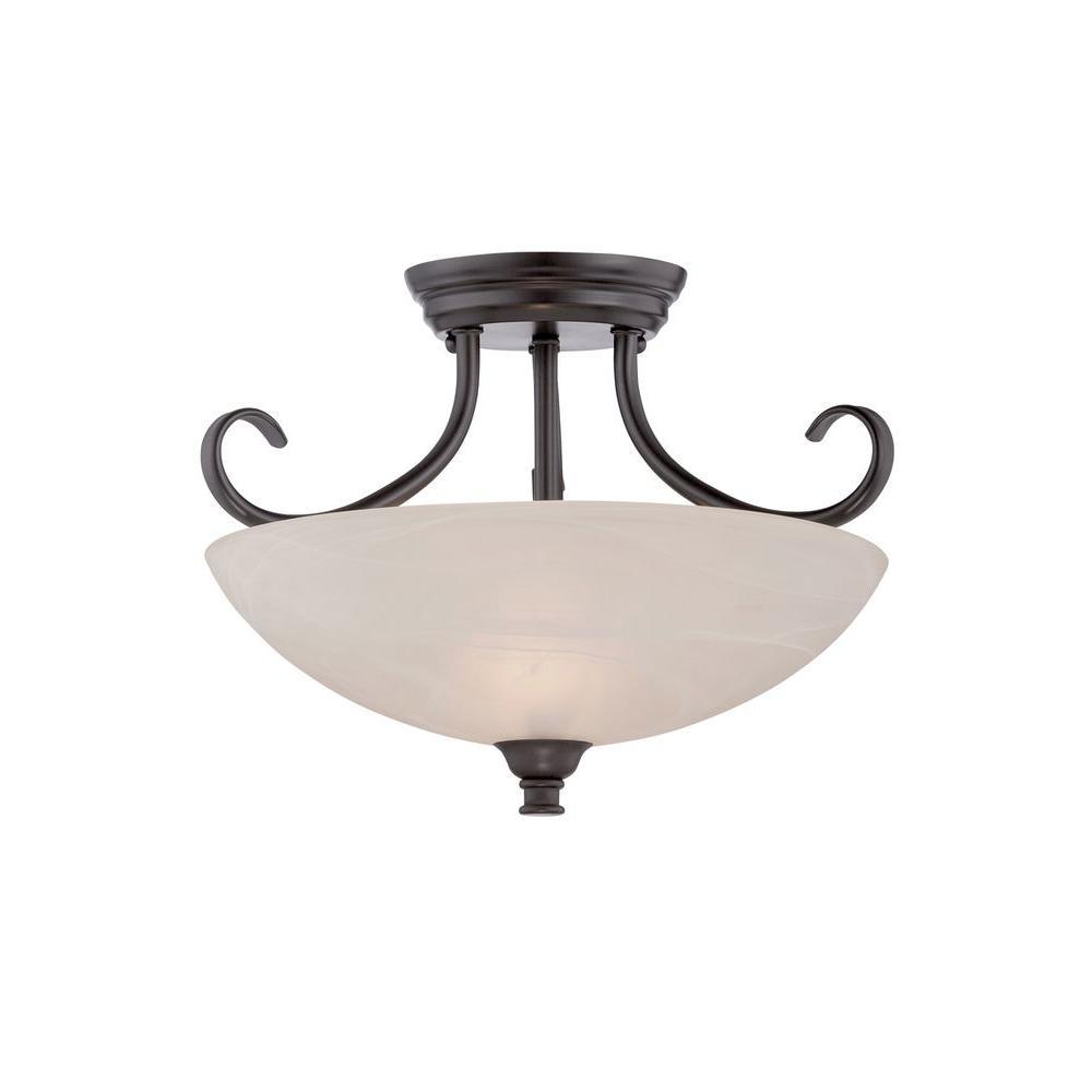 Kendall 2-Light Oil Rubbed Bronze Semi-Flush Mount Light
