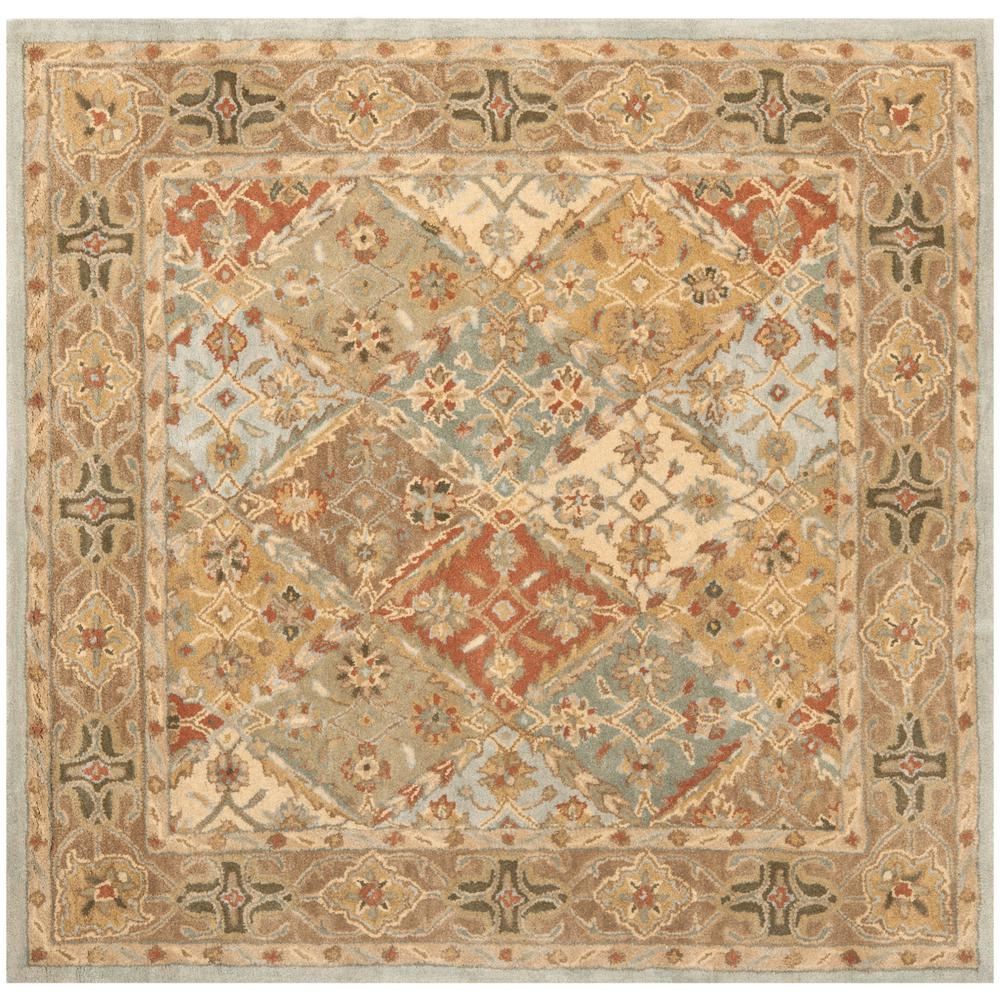 Safavieh Heritage Light Blue Light Brown 6 Ft X 6 Ft Square Area