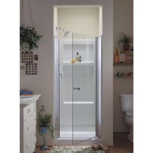 Sterling Finesse 30 1 4 In X 65 2 Semi Frameless Pivot Shower Door Silver With Handle 6305 30s The Home Depot