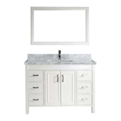 Dawlish 48 in. W x 22 in. D Vanity in White with Marble Vanity Top in Gray with White Basin and Mirror