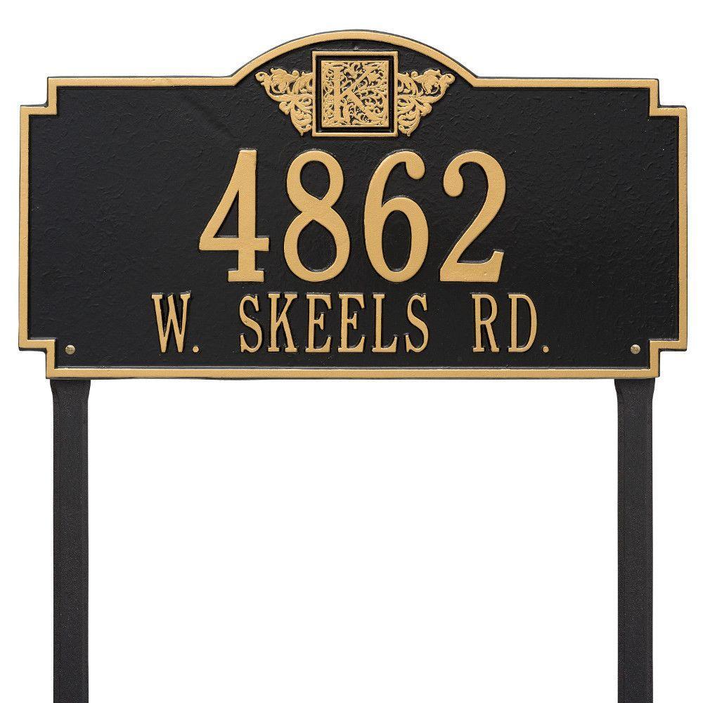 Monogram Estate Lawn Rectangular Black/Gold 2-Line Address Plaque
