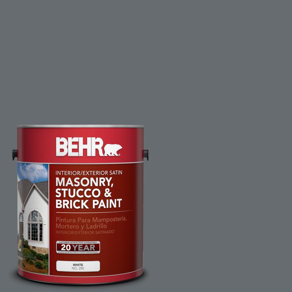 1 gal. #770F-5 Dark Ash Satin Interior/Exterior Masonry, Stucco and Brick Paint
