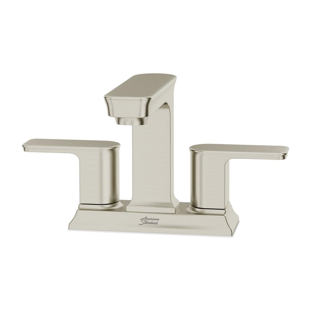 American Standard Forsey 4 in. Centerset 2-Handle Bathroom Faucet with Easy Install Push Drain in Brushed Nickel