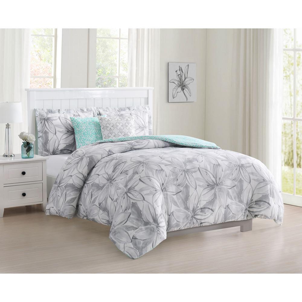 Belle 5-Piece Reversible Grey Queen Comforter Set
