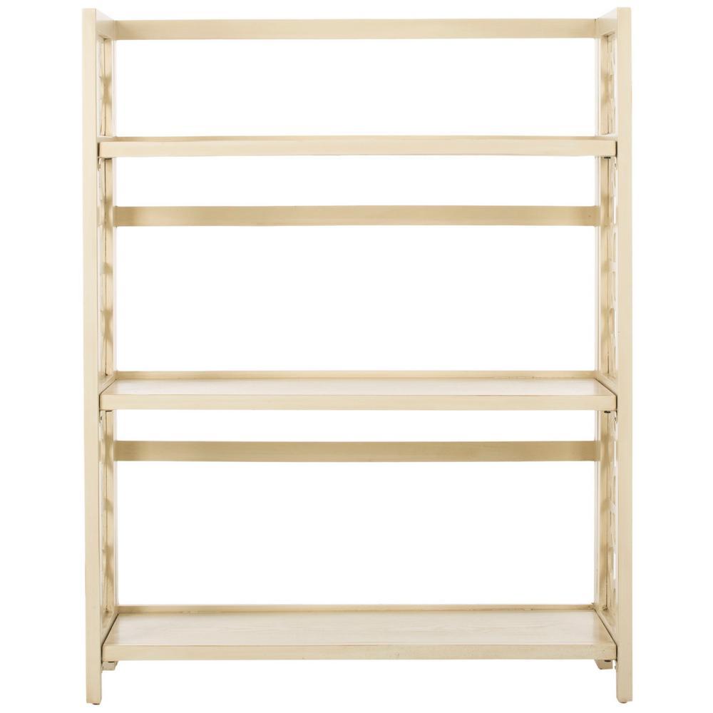 42.5 in. Antique/White Wood 3-shelf Etagere Bookcase