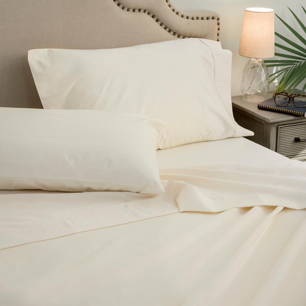 4-Piece Parchment 1000 Thread Count Cotton Poly King Sheet Set