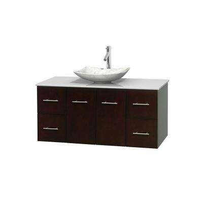 Vanity In Espresso With Solid Surface Vanity Top In White And