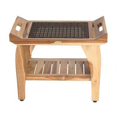 EarthyTeak Classic 24 in. Shower Stool with Viro Indoor/Outdoor Rattan Top and Shelf