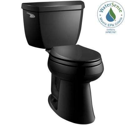 Highline Classic Comfort Height 2-piece 1.28 GPF Single Flush Elongated Toilet in Black Black, Seat Not Included