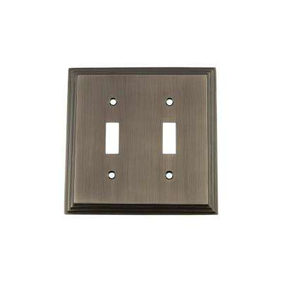 Deco Switch Plate with Double Toggle in Antique Pewter