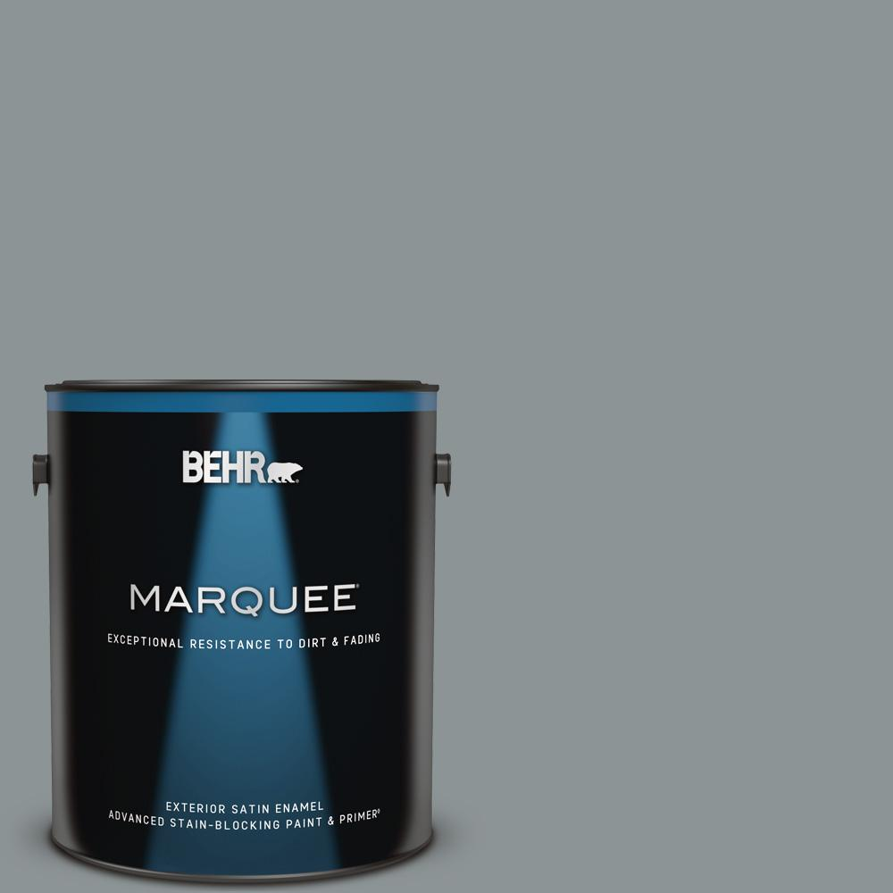 Behr Marquee 1 Gal Home Decorators Collection Hdc Nt 27 Millennium Silver Satin Enamel Exterior Paint And Primer 945401 The Home Depot