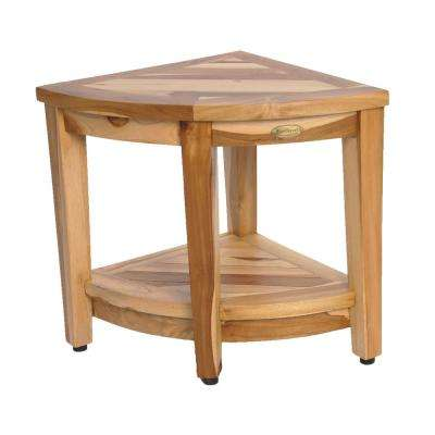 EarthyTeak Oasis Teak Corner Shower Bench with Shelf