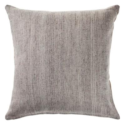 San Gray Modern Distressed Cozy Poly-fill 20 in. x 20 in. Decorative Throw Pillow