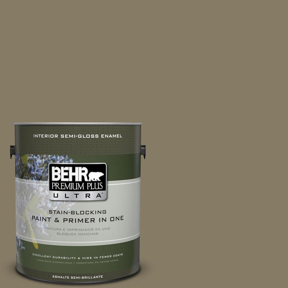 1-gal. #ECC-55-3 Olive Sprig Semi-Gloss Enamel Interior Paint