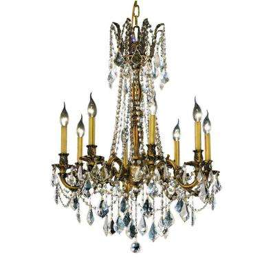8-Light French Gold Chandelier with Clear Crystal
