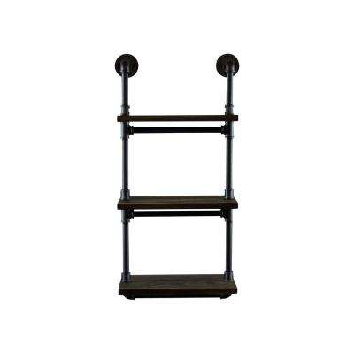 Juneau Farmhouse Industrial, Black 3-Tiered Etagere Wall Pipe Shelf Rack Multipurpose-Metal-Reclaimed Wood