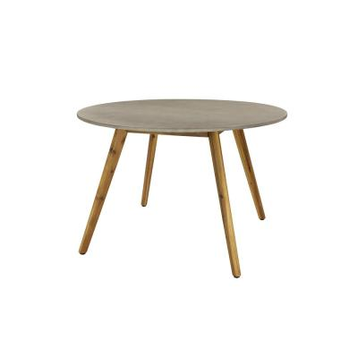 Litton Lane Round Gray Concrete Outdoor End Table with Wooden Mid-Century Legs