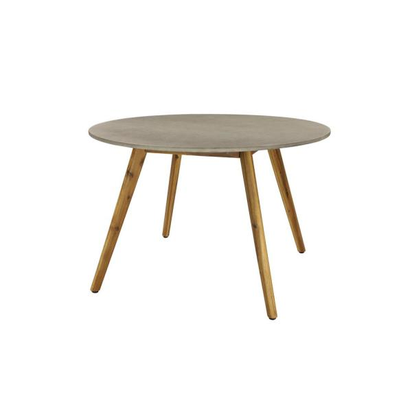 Litton Lane Round Gray Concrete Outdoor End Table With Wooden Mid Century Legs