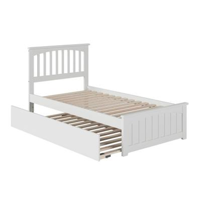 Mission Twin Extra Long Bed with Matching Footboard and Twin Extra Long Trundle in White