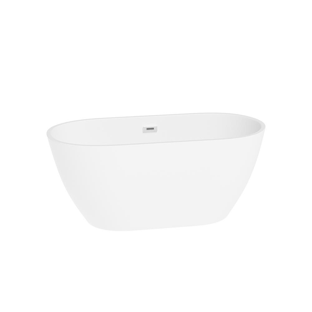 Topcraft 55 In Contemporary Design Acrylic Soaking Spa Tub Non Whirlpool Freestanding Bathtub In White Bt2020 55 The Home Depot