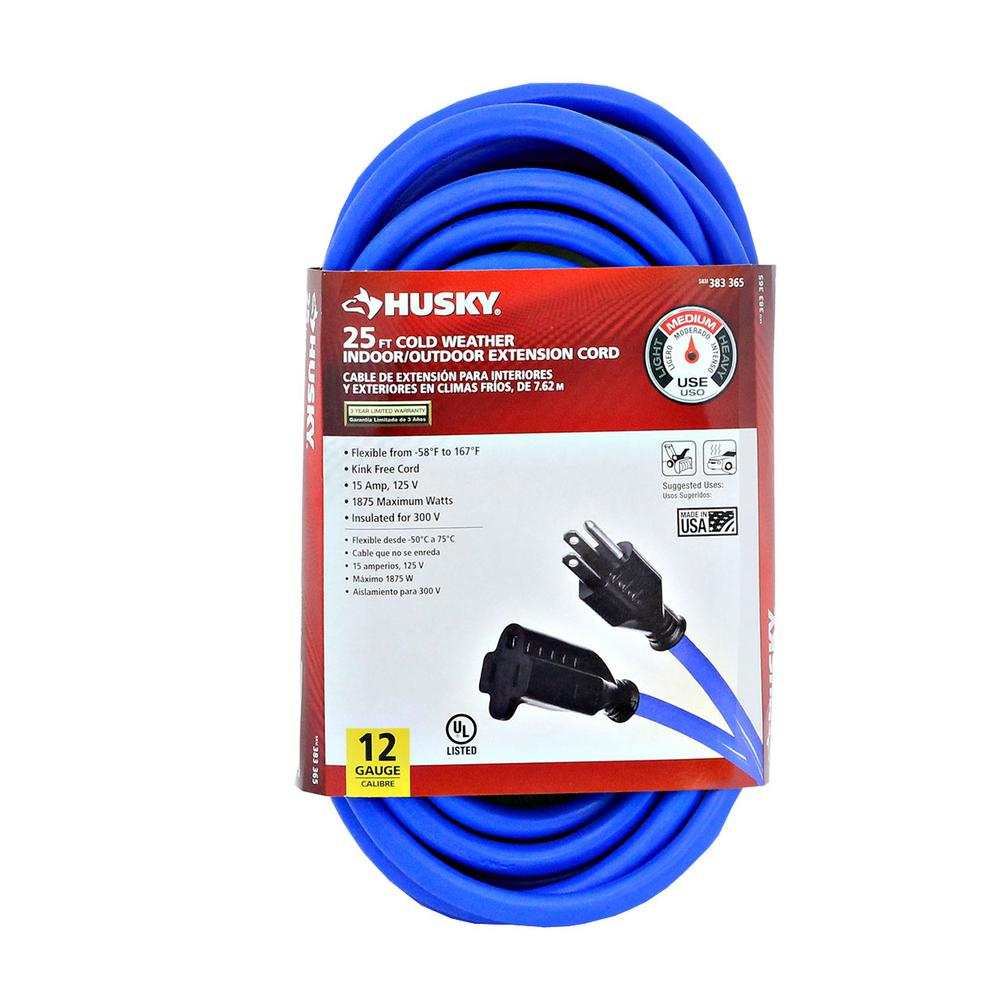 Husky 25 ft. 12/3 (-50°) Cold Weather Extension Cord-748-123025HC4 ...
