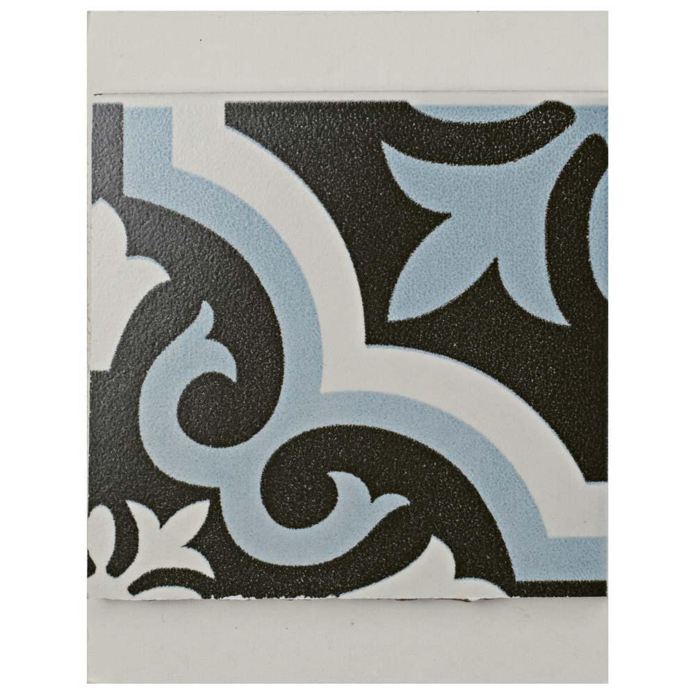 Braga Blue Encaustic Ceramic Floor and Wall Tile - 3 in. x 4 in. Tile Sample