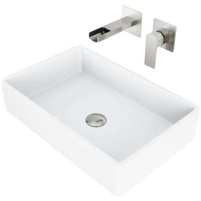 Magnolia Matte Stone Vessel Bathroom Sink Set with Atticus Wall Mount Faucet in Brushed Nickel