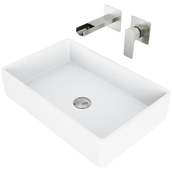 Vigo Matte Stone Magnolia Composite Rectangular Vessel Bathroom Sink In White With Faucet And Pop Up Drain In Brushed Nickel Vgt977 The Home Depot