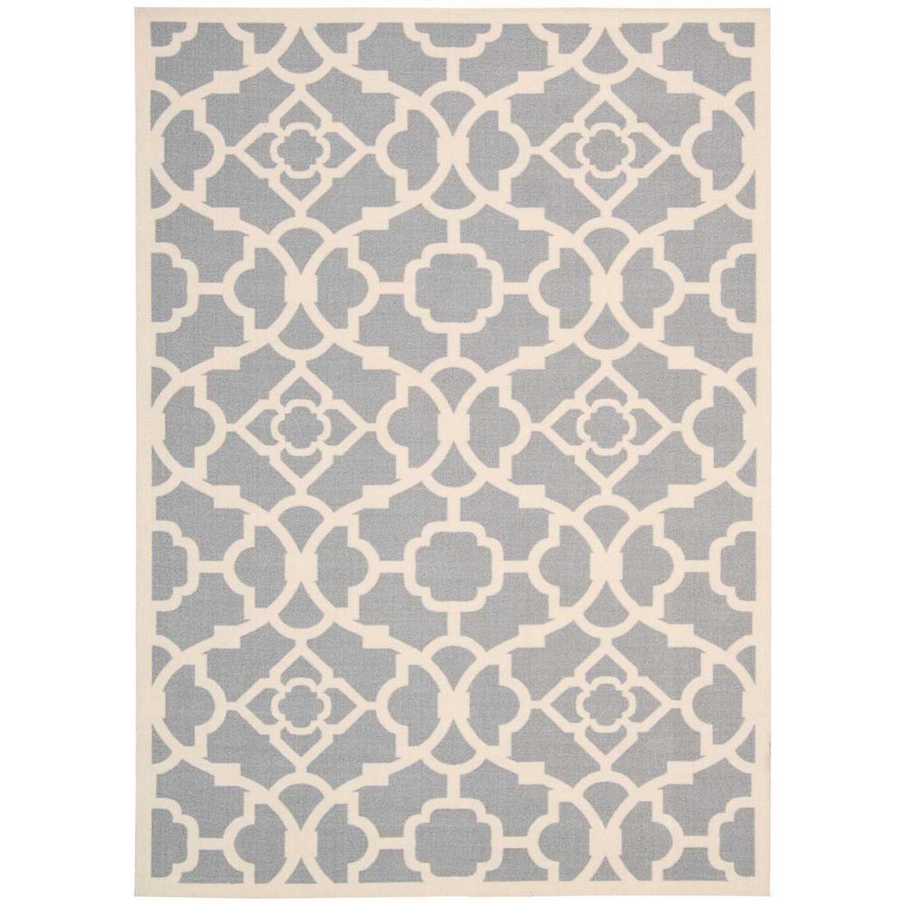 Lovely lattice grey 5 ft x 7 ft indoor outdoor area rug