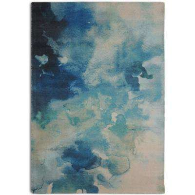 Luminous Contemporary Watercolor Blue 7 ft. 6 in. x 9 ft. 6 in. Area Rug